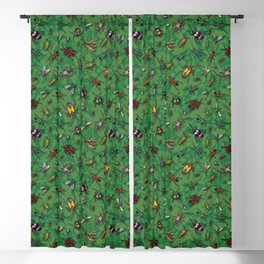 Bugs & Insects on Green Floral Background Blackout Curtain