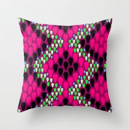 Poison Pink Snakeskin Throw Pillow