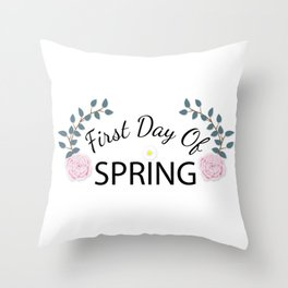 Floral First Day Of Spring Throw Pillow