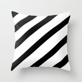 Soft Diagonal Black and White Stripes Throw Pillow