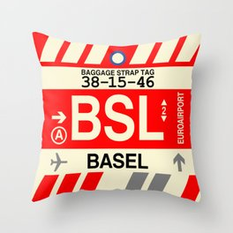 BSL Basel • Airport Code and Vintage Baggage Tag Design Throw Pillow