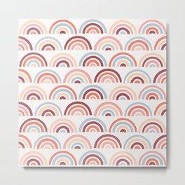 Stamped Rainbows - Maroon Metal Print