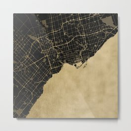 Toronto Gold and Black Street Map Metal Print