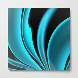 Abstract Fractal Colorways 02 Pacific Blue Metal Print