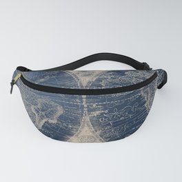 Antique World Map Gold Navy Blue Library Fanny Pack