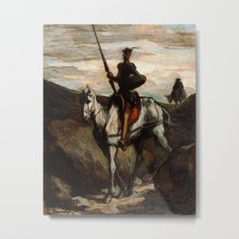 Don Quixote In The Mountains by Honore Daumier Metal Print