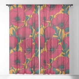 Red poppy garden    Sheer Curtain
