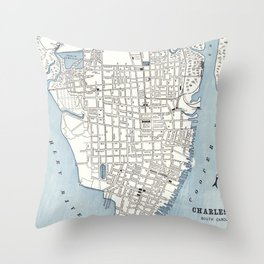 Vintage Map of Charleston South Carolina (1898) Throw Pillow