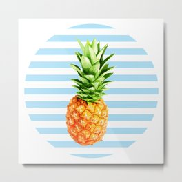 Pineapple, blue stripes, kitchen poster, garden poster, rounded Metal Print