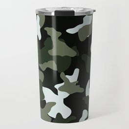 Green White camo camouflage army pattern Travel Mug