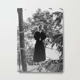 Woman in a Black Dress Metal Print
