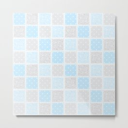 Smaller Baby blue & grey Swirls & spots Patchwork Metal Print
