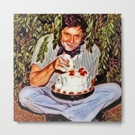 Eating Cake in a Bush with Johnny Cash Portrait Painting by Jeanpaul Ferro Metal Print