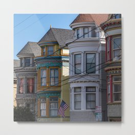 Painted Ladies Houses in San Francisco, California, Haight Ashbury Homes, Travel Photography  Metal Print