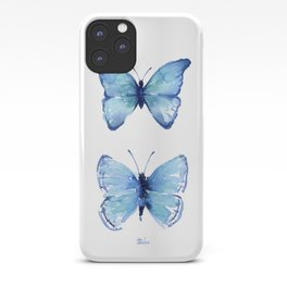 Two Blue Butterflies Watercolor iPhone Case