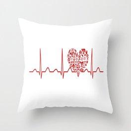 Kindergarten Teacher Heartbeat Throw Pillow