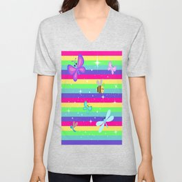 Butterflies & Rainbow Stripes Unisex V-Neck