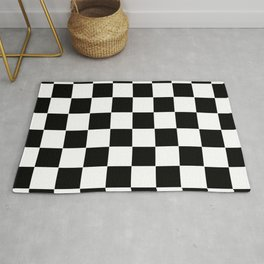 Checker Cross Squares Black And White Rug