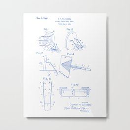Archery Target Matt Stand Vintage Patent Hand Drawing Metal Print