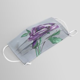 Purple Peony on Gray Face Mask