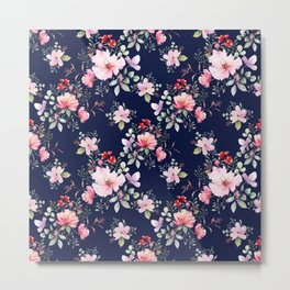 Rose flower seamless pattern dark blue backgroud illustration watercolor drawn Metal Print