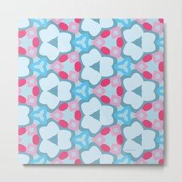 Flower-Kaleidoscope Blue Metal Print