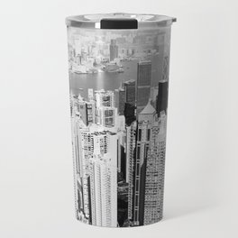 Hong Kong Cityscape // Sky Scraper Skyline Landscape Photography Black and White Buildings Travel Mug