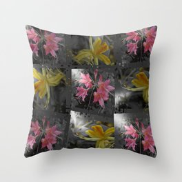 Delicate pink, yellow flowers glow in dark gray, silver a festive collage Throw Pillow