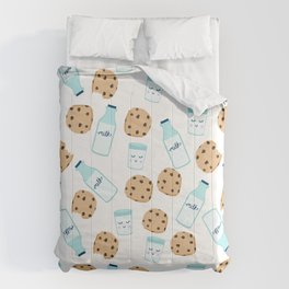 Milk and cookies pattern white cute kids decor boys or girls room design Comforters