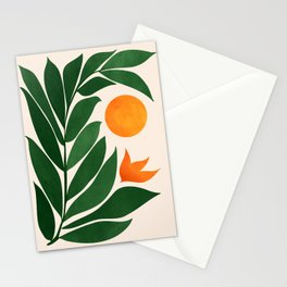 Tropical Forest Sunset / Mid Century Abstract Shapes Stationery Cards