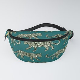 Kitty Parade - Olive on Dark Teal Fanny Pack