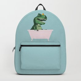 Playful T-Rex in Bathtub in Green Backpack