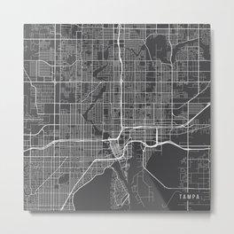 Tampa Map, USA - Gray Metal Print