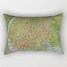 Vintage Map of the Bronx NY (1921) Rectangular Pillow