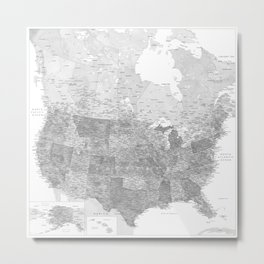Gray watercolor detailed map of the US Metal Print