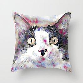 watercolor kitty Throw Pillow