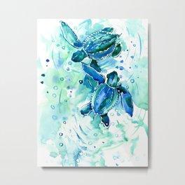 Turquoise Blue Sea Turtles in Ocean Metal Print