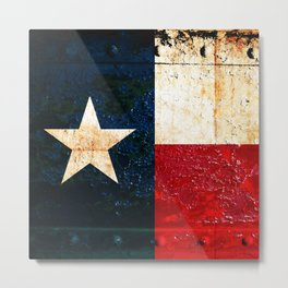 Texas Flag on Rusted Metal Sheet Metal Print