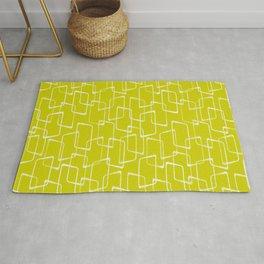 Lime Green Retro Geometric Pattern Rug