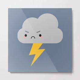 Kawaii Thunder & Lightning Cloud Metal Print