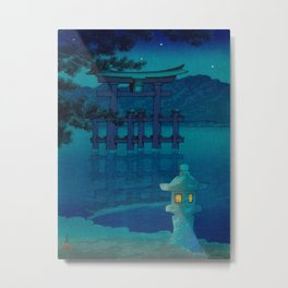 Japanese Woodblock print Torii In The Lake During Night Blue Monochromatic Metal Print