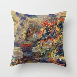 Autumn on the Delaware Canal in Bucks County, Pennsylvania. From oil painting by Pamela Parsons. Throw Pillow