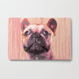 French bulldog, cute frenchie head, pink dog Metal Print