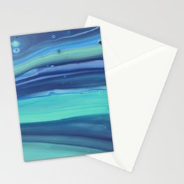 Shades of Blue Abstract Stripes Stationery Cards