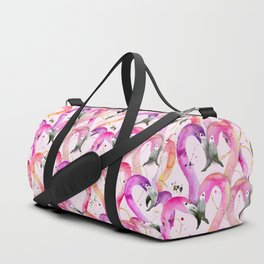 Pink Flamingo Hearts Duffle Bag