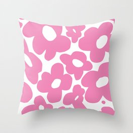 60s 70s Hippy Flowers Pink Throw Pillow