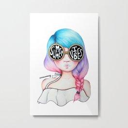 Summer Vibes Colourful Hair Girl Drawing Metal Print