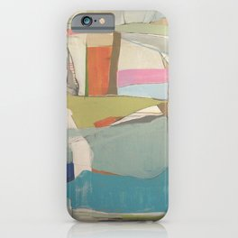 """""""tidal pool"""" abstract art in turquoise, cream, white, orange and pink by iPhone Case"""