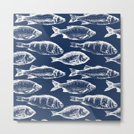 Fish // Navy Blue Metal Print