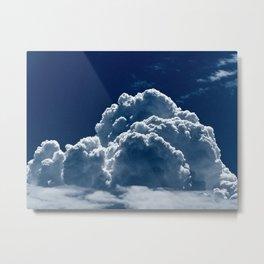 Puffy Cumulus clouds on Deep Blue Sky Metal Print